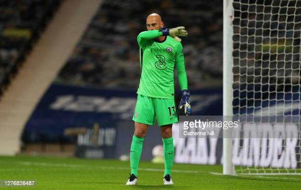 Willy Caballero of Chelsea reacts during the Premier League match between West Bromwich Albion and Chelsea at The Hawthorns on September 26 2020 in...