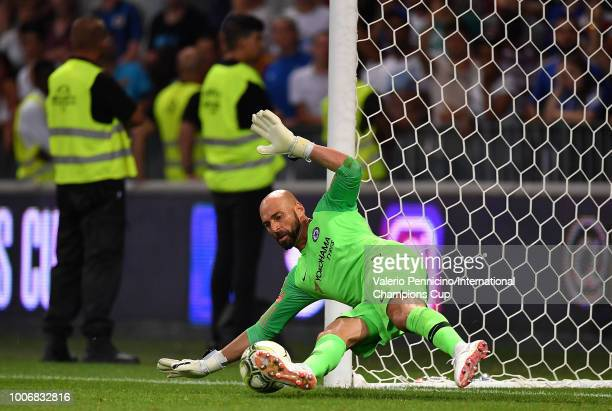 Willy Caballero of Chelsea saves a penalty from Milan Skriniar of FC Internazionale during the International Champions Cup 2018 match between Chelsea...