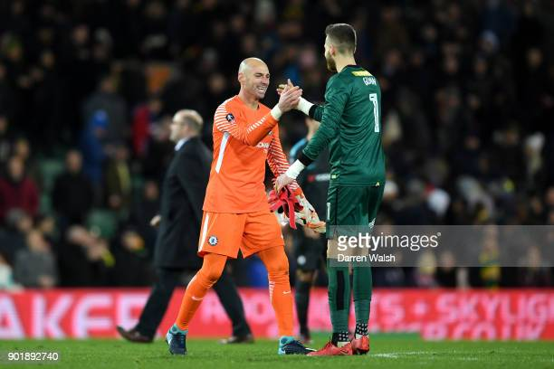 Willy Caballero of Chelsea shakes hands with Angus Gunn of Norwich City after The Emirates FA Cup Third Round match between Norwich City and Chelsea...