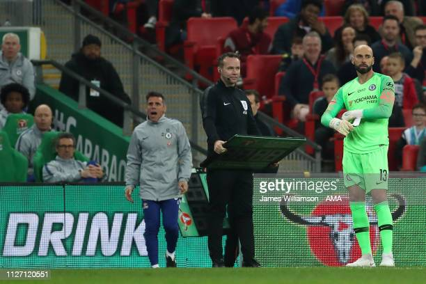 Willy Caballero of Chelsea waits to come on during the Carabao Cup Final between Chelsea and Manchester City at Wembley Stadium on February 24, 2019...