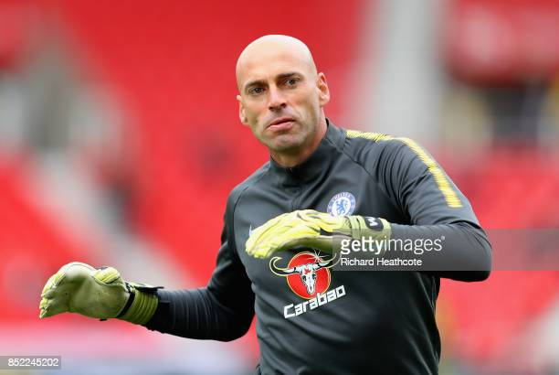 Willy Caballero of Chelsea warms up prior to the Premier League match between Stoke City and Chelsea at Bet365 Stadium on September 23 2017 in Stoke...