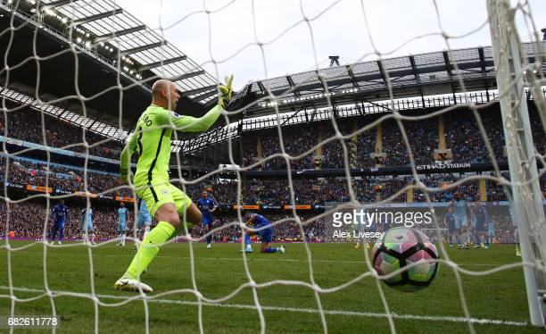 Willy Caballero of Manchester City appeals after Riyad Mahrez of Leicester City scores a penalty against him during the Premier League match between...