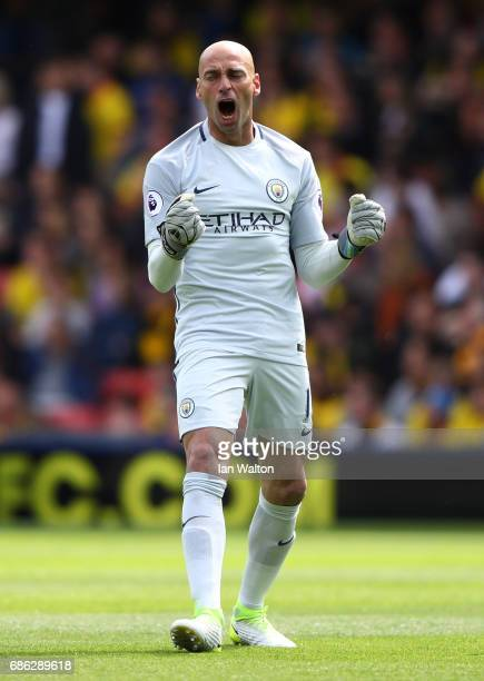 Willy Caballero of Manchester City celebrates his sides first goal during the Premier League match between Watford and Manchester City at Vicarage...