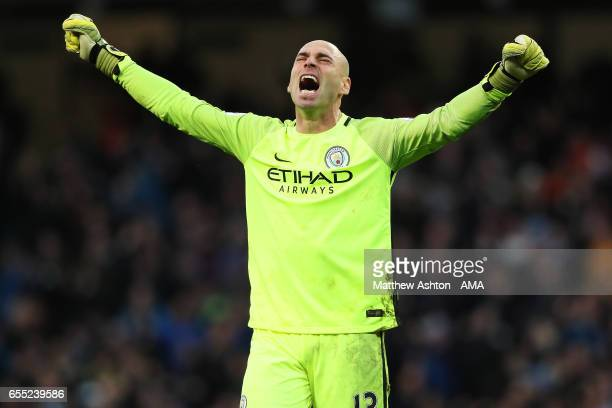 Willy Caballero of Manchester City celebrates his team's first goal which made the score 1-1 during the Premier League match between Manchester City...