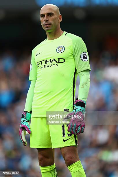 Willy Caballero of Manchester City during the Premier League match between Manchester City and Sunderland at the Etihad Stadium on August 13 2016 in...