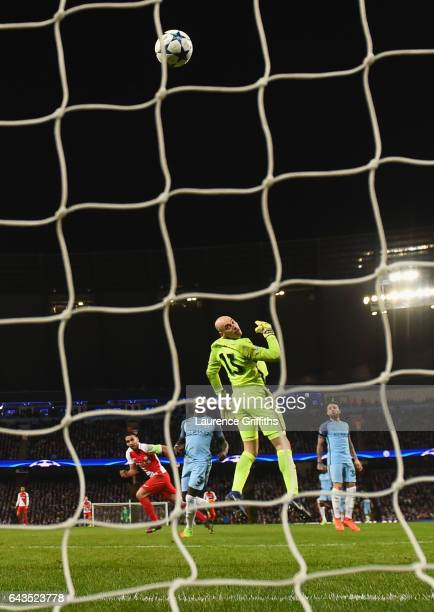Willy Cabellero of Manchester City watches the ball as Radamel Falcao Garcia of AS Monaco scores their third goal during the UEFA Champions League...