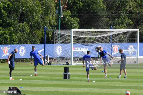 Willy Gaballero, Cesar Azpilicueta, Pedro and Ross Barkley of Chelsea during a self isolating small group training session at Chelsea Training Ground...