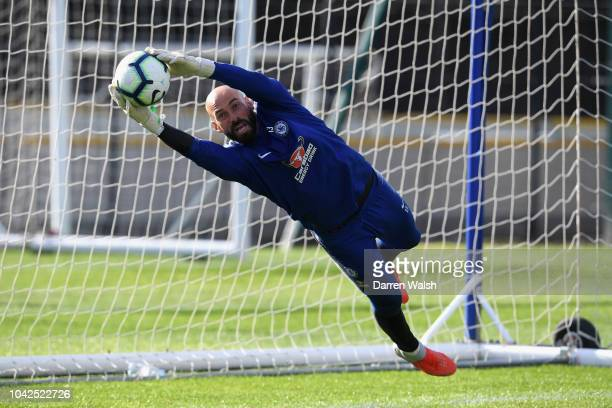 Willy Gaballero of Chelsea during a training session at Chelsea Training Ground on September 28 2018 in Cobham England