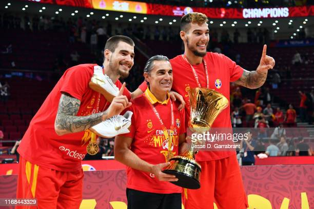 Willy Hernangómez of Team Spain and Juan Hernangómez celebrate after the game against Team Argentina during the 2019 FIBA World Cup Finals at the...