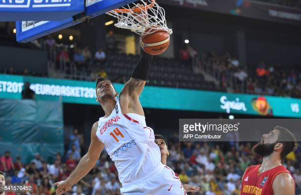 Willy Hernangomez of Spain scores against Montenegro during the Group C of the FIBA Eurobasket 2017 mens basketball match between Spain and...