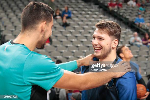Laugh stock photos and pictures getty images willy hernangomez of the charlotte hornets and luka doncic of the dallas mavericks share a laugh m4hsunfo