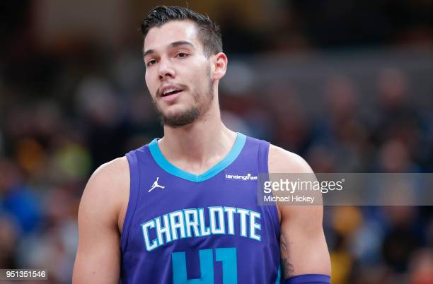 Willy Hernangomez of the Charlotte Hornets is seen during the game against the Indiana Pacers at Bankers Life Fieldhouse on April 10 2018 in...
