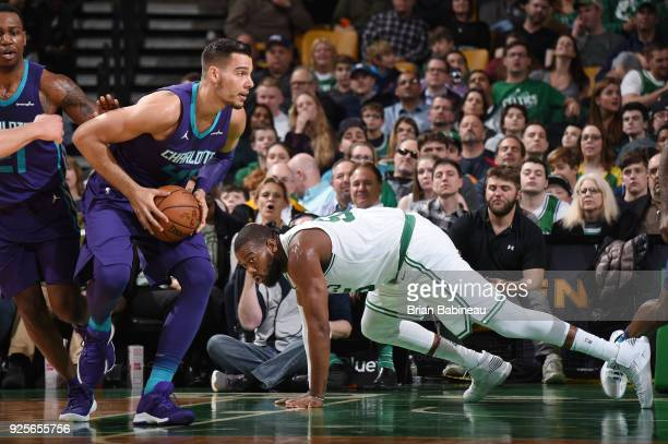 Willy Hernangomez of the Charlotte Hornets looks to pass the ball during the game against the Boston Celtics on February 28 2018 at the TD Garden in...