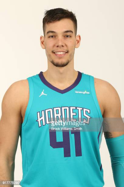 Willy Hernangomez of the Charlotte Hornets poses for a head shot on February 12 2018 at Spectrum Center in Charlotte North Carolina NOTE TO USER User...