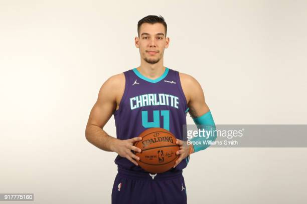 Willy Hernangomez of the Charlotte Hornets poses for a portrait on February 12 2018 at Spectrum Center in Charlotte North Carolina NOTE TO USER User...