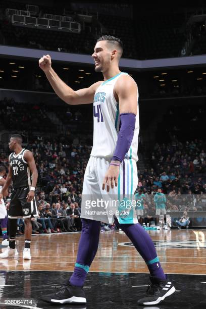 Willy Hernangomez of the Charlotte Hornets reacts to a play during the game against the Brooklyn Nets on March 21 2018 at Barclays Center in Brooklyn...