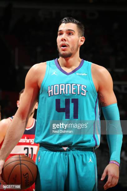 Willy Hernangomez of the Charlotte Hornets shoots a free throw during the game against the Washington Wizards on March 31 2018 at the Capital One...