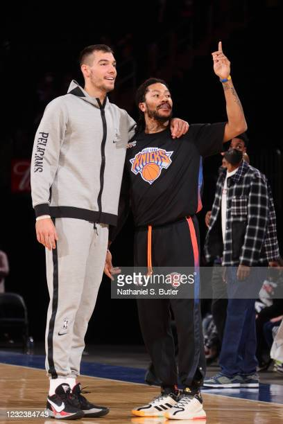 Willy Hernangomez of the New Orleans Pelicans and Derrick Rose of the New York Knicks smile before the game on April 18, 2021 at Madison Square...