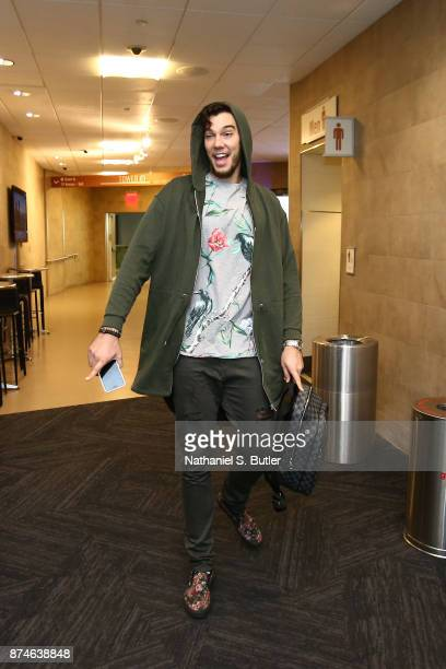 Willy Hernangomez of the New York Knicks arrives at Madison Square Garden before the game against the Cleveland Cavaliers in New York City New York...