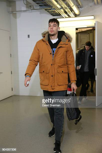 Willy Hernangomez of the New York Knicks arrives before the game against the Minnesota Timberwolves on January 12 2018 at Target Center in...