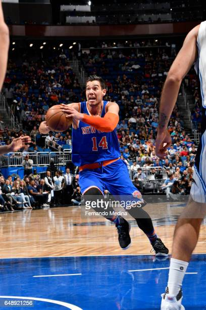 Willy Hernangomez of the New York Knicks drives to the basket against the Orlando Magic during the game on March 6 2017 at Amway Center in Orlando...