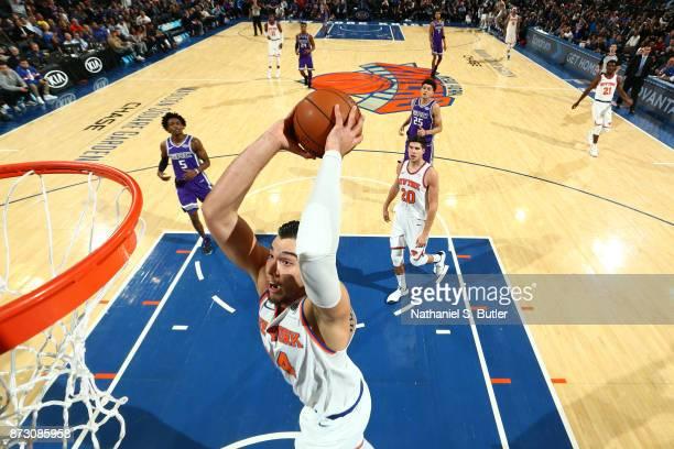 Willy Hernangomez of the New York Knicks dunks against the Sacramento Kings on November 11 2017 at Madison Square Garden in New York City New York...