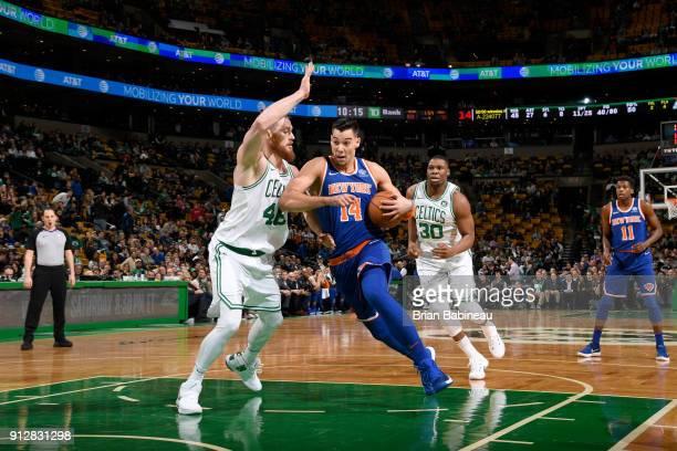 Willy Hernangomez of the New York Knicks handles the ball against the Boston Celtics on January 31 2018 at the TD Garden in Boston Massachusetts NOTE...