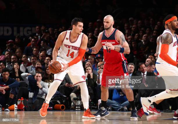 Willy Hernangomez of the New York Knicks handles the ball during a game against the Washington Wizards on April 6 2017 at Madison Square Garden in...