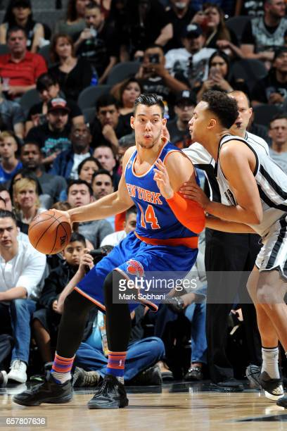 Willy Hernangomez of the New York Knicks handles the ball during the game against the San Antonio Spurs on March 25 2017 at the ATT Center in San...