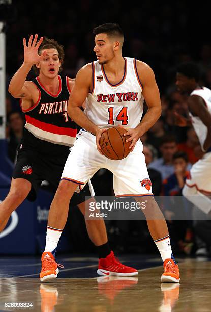 Willy Hernangomez of the New York Knicks in action against the Portland Trail Blazers during their game at Madison Square Garden on November 22 2016...