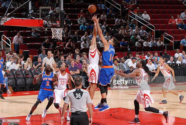 Willy Hernangomez of the New York Knicks shoots the ball against the Houston Rockets during a preseason game on October 4 2016 at the Toyota Center...