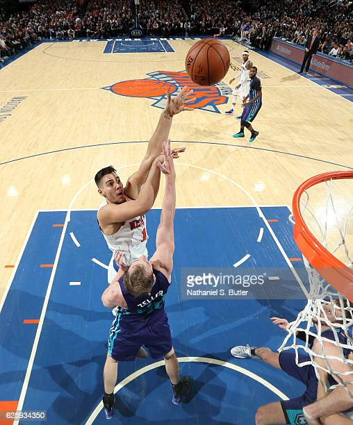 Willy Hernangomez of the New York Knicks shoots the ball against the Charlotte Hornets at Madison Square Garden in New York New York NOTE TO USER...