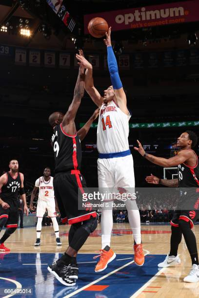 Willy Hernangomez of the New York Knicks shoots the ball during a game against the Toronto Raptors on April 9 2017 at Madison Square Garden in New...