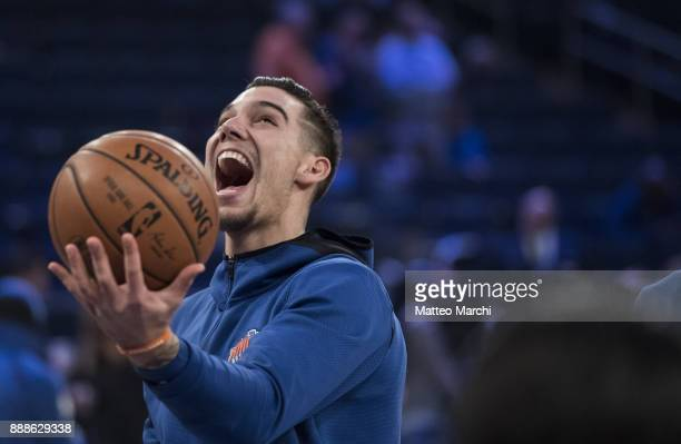Willy Hernangomez of the New York Knicks warms up before the game against the Memphis Grizzlies at Madison Square Garden on December 6 2017 in New...