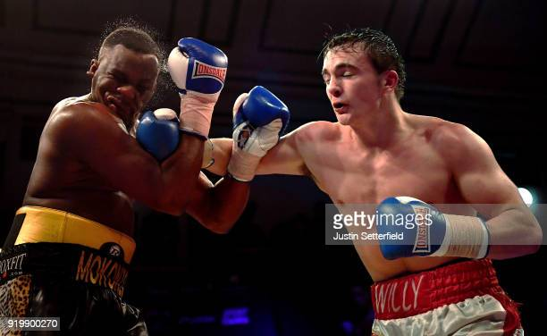 Willy Hutchinson catches Erik Mokonso with a hook during there Light Heavyweight contest during the Hayemaker Ringstar Boxing at York Hall on...