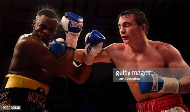Willy Hutchinson catches Erik Mokonso with a right hook in there Light Heavyweight contest during the Hayemaker Ringstar Boxing at York Hall on...