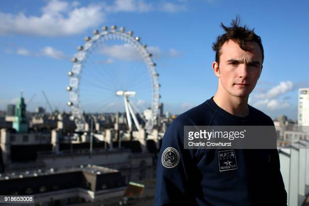 Willy Hutchinson poses for a photo on a Balcony overlooking London during the Joe Joyce v Rudolf Jozic weigh in at Park Plaza Hotel on February 15...