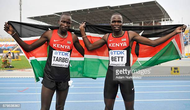 Willy Kiplimo Tarbei from Kenya and Kipyegon Bett from Kenya celebrate after men's 800 metres during the IAAF World U20 Championships at the Zawisza...
