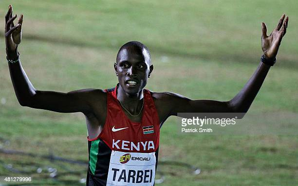 Willy Kiplimo Tarbei of Kenya celebrates after winning the Boys 800 Meters Final on day four of the IAAF World Youth Championships Cali 2015 on July...