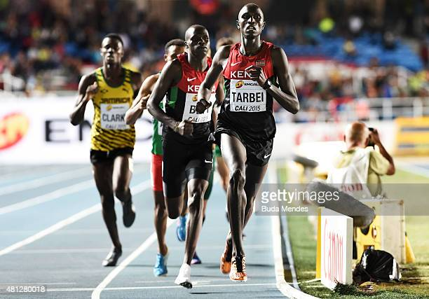 Willy Kiplimo Tarbei of Kenya in action during the Boys 800 Meters Final on day four of the IAAF World Youth Championships Cali 2015 on July 18 2015...