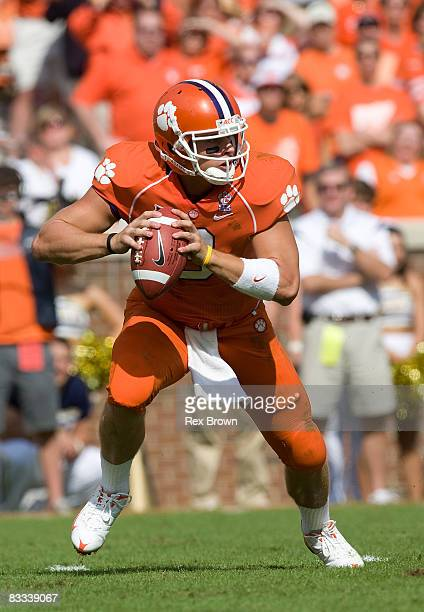 Willy Korn of the Clemson Tigers rolls out to pass against the Georgia Tech Yellow Jackets during the first quarter at Memorial Stadium on October...