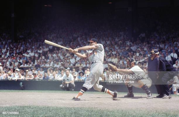Willy Miranda of the Baltimore Orioles swings at a pitch during an MLB game against the Detroit Tigers on June 28 1959 at Briggs Stadium in Detroit...
