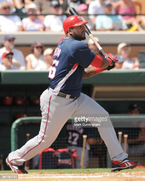 Willy Mo Pena of the Washington Nationals bats against the Detroit Tigers during the spring training game at Joker Marchant Stadium on March 20 2009...