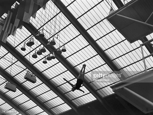Willy Rist of Switzerland competing in the Men's Platform diving event at the Empire Pool Wembley during the London Olympics 4th August 1948