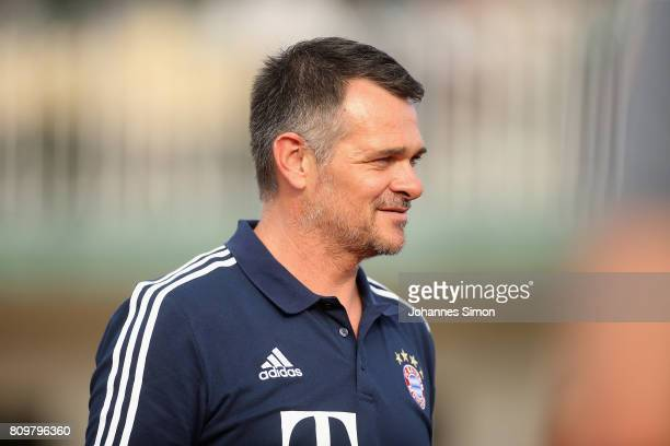 Willy Sagnol assistant coach of Bayern arrives for the preseason friendly match between BCF Wolfratshausen and Bayern Muenchen on July 6 2017 in...