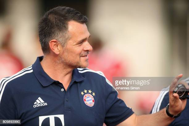Willy Sagnol assistant coach of Bayern arrives for the preseason friendly match between BCF Wolfratshausen and Bayern Muenchen at on July 6 2017 in...