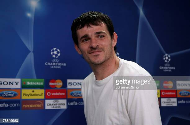 Willy Sagnol injured French defender of Bayern Munich addresses the media during the Bayern Munich press conference at Bayern's training ground...