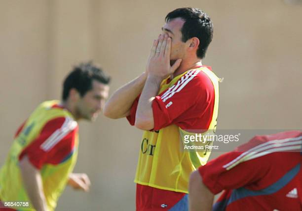 Willy Sagnol looks disappointed after missing a goal chance during the Bayern Munich training camp on January 8 2006 in Dubai United Arab Emirates...