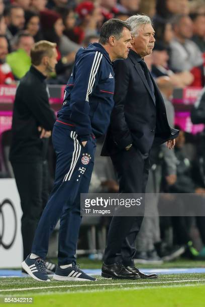 Willy Sagnol of Bayern Muenchen and Head coach Carlo Ancelotti of Bayern Muenchen looks on during the Bundesliga match between FC Bayern Muenchen and...