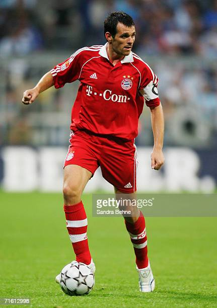 Willy Sagnol of Bayern Munich in action during the Giovane Elber farewell match between Bayern Munich and 1860 Munich at the Allianz Arena on August...